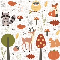 Fall Tree & Animal Pattern Fine Art Print