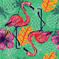 Tropical Flamingo Pattern Framed Print