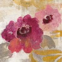 Elegant Fresco Floral Gold Flower II Framed Print