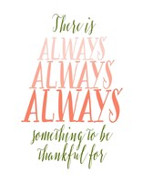 Be Thankful - Green and Coral Fine Art Print