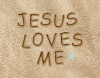 Jesus Loves Me Sand Fine Art Print