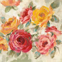 Brushy Roses Crop with Teal Fine Art Print