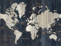 Old World Map Blue Crop Fine Art Print