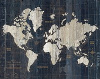 Old World Map Blue v2 Fine Art Print
