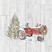 Country Christmas III no Words on White Wood Fine Art Print