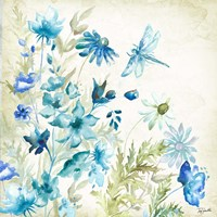 Wildflowers and Butterflies Square I Fine Art Print