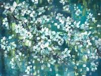 Teal Blossoms Landscape Fine Art Print