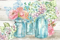 Colorful Flowers in Mason Jar Landscape Fine Art Print