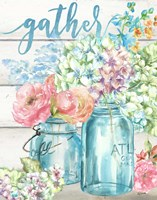 Colorful Flowers in Mason Jar Gather Fine Art Print
