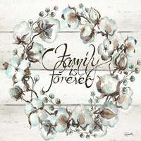 Cotton Boll Family Wreath Fine Art Print