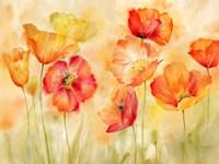 Watercolor Poppy Meadow Spice Landscape Fine Art Print