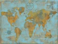 Rustic World Map Sky Blue Fine Art Print