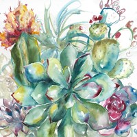 Succulent Garden Watercolor I Fine Art Print