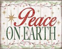 Peace on Earth Woodgrain sign Fine Art Print