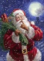 Santa on Blue with moon Fine Art Print