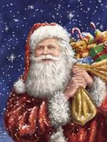 Santa with his sack on Blue Fine Art Print