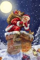 Santa at Chimney with moon Fine Art Print