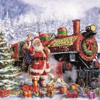 Santa and Red Train Fine Art Print