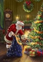 Santa at Tree Blue Sack Fine Art Print
