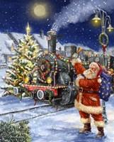 Santa and Black Train Fine Art Print