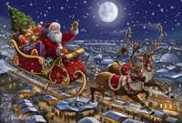 Santa Sleigh and Reindeer in Sky Fine Art Print