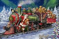 Santa Green /Red Train with toy bears Fine Art Print