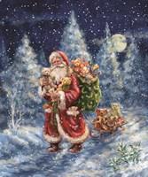 Santa in Winter Woods with sack Fine Art Print