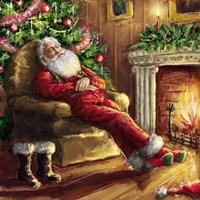 Santa asleep in Chair Fine Art Print