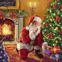 Santa at tree with present Fine Art Print