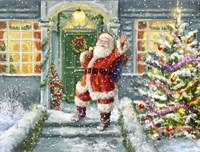 Santa on Steps with green door Fine Art Print