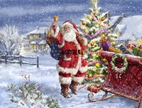 Santa ringing bell with Sleigh Fine Art Print
