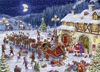 Santa Sleigh and big moon Fine Art Print