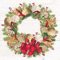 Christmas by the Sea Wreath square Fine Art Print