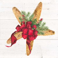 Christmas by the Sea Starfish square Fine Art Print