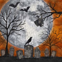 Something Wicked Graveyard I Hanging Bat Fine Art Print