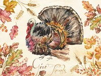 Watercolor Harvest Turkey Fine Art Print