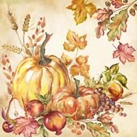 Watercolor Harvest Pumpkins I Fine Art Print