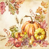 Watercolor Harvest Pumpkins II Fine Art Print