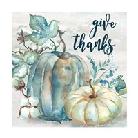 Blue Watercolor Harvest Square Give Thanks Fine Art Print
