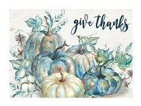 Blue Watercolor Harvest Pumpkin Landscape Give Thanks Fine Art Print