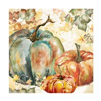 Watercolor Harvest Teal and Orange Pumpkins I Fine Art Print