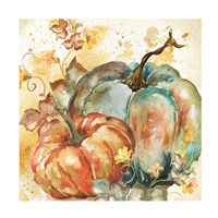 Watercolor Harvest Teal and Orange Pumpkins II Fine Art Print
