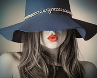 Vintage Fashion - Blue Hat Fine Art Print