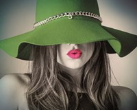 Vintage Fashion - Green Hat Fine Art Print