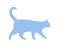 Dot Pattern Cat - Blue Fine Art Print