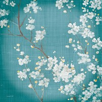 White Cherry Blossoms II on Teal Aged no Bird Fine Art Print
