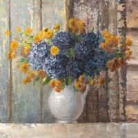 Fall Dahlia Bouquet Crop Blue Fine Art Print