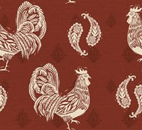 Woodcut Rooster Patterns Fine Art Print