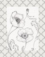 Blossom Sketches Words I Border Fine Art Print