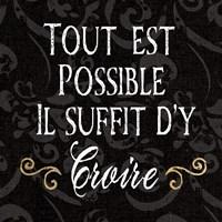 Inspirational Collage IV French on Black Framed Print